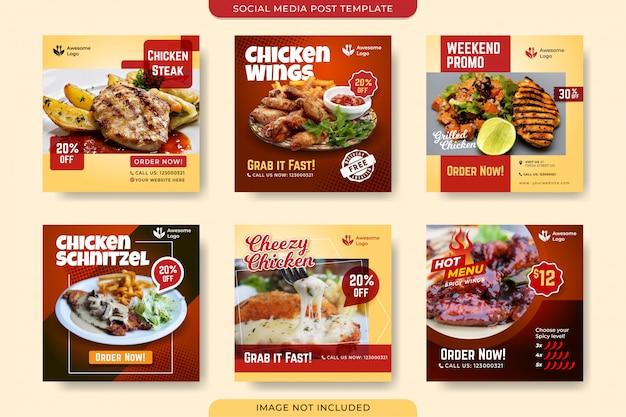Modello di post sui social media del menu di pollo