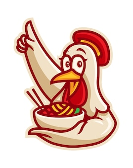 Chicken noodle ramen logo illustrazione