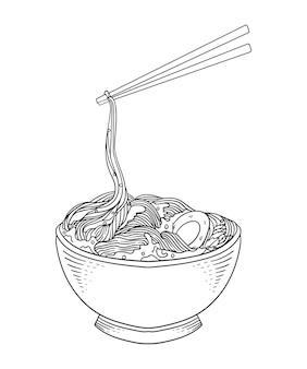 I noodles di pollo sono davvero buoni scarabocchi in bianco e nero