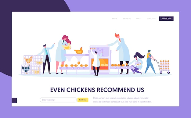 Modello di pagina di destinazione della macchina per la produzione di pollame di pollo