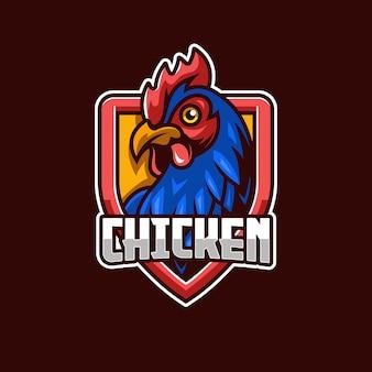 Modello di logo di pollo gallo e-sport