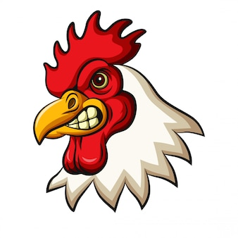 Disegno mascotte testa di pollo gallo