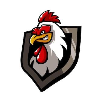 Vettore dell'illustrazione di progettazione di logo della mascotte del gallo del pollo isolato su fondo bianco
