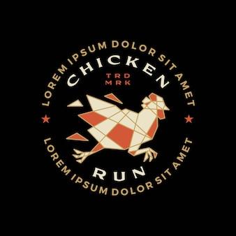 Gallo di pollo eseguito t-shirt geometrica distintivo emblema vintage t-shirt merch logo icona vettore illustrazione
