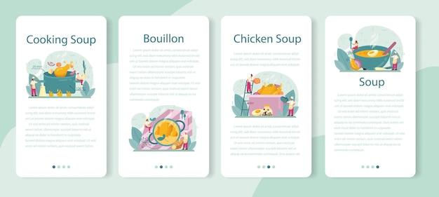 Set di banner per applicazioni mobili di zuppa di pollo