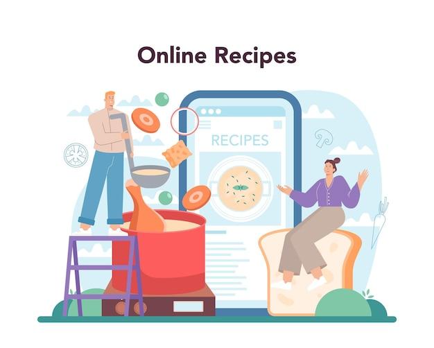 Servizio o piattaforma online di zuppa di pollo. ingredienti del pasto gustoso