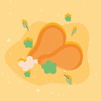 Cosce e foglie di pollo