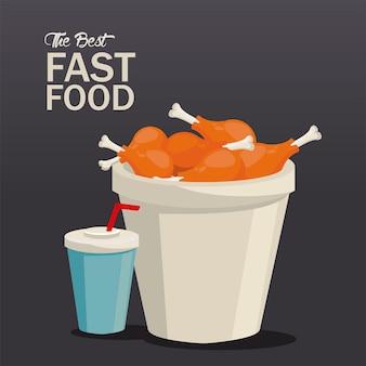 Cosce di pollo pentola e soda deliziosa icona fast food illustrazione