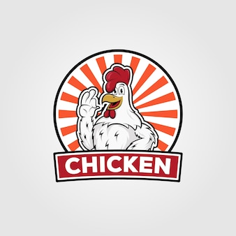 Disegno di illustrazione vettoriale di pollo logo vintage, fumetto di pollo su disegno distintivo
