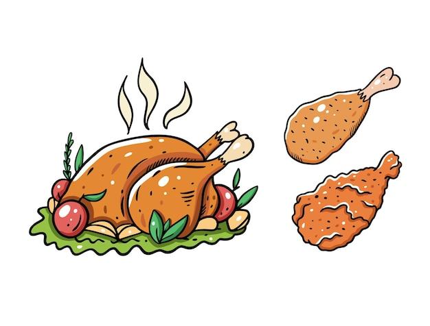 Pollo intero e coscia. illustrazione del fumetto. isolato su sfondo bianco. design per poster, banner, stampa e web.
