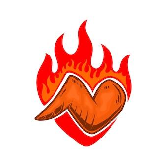 Ali di pollo con fuoco. elemento di design per poster, emblema, segno, volantino. illustrazione vettoriale