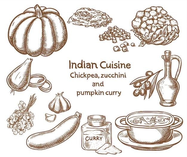Ingredienti di ceci, zucchine e zucca al curry