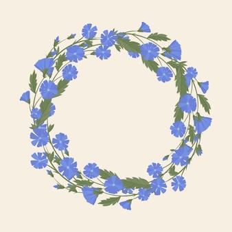 Ghirlanda di cicoria, fiori selvatici ed erbe medicinali.