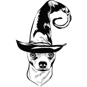 Cane chihuahua con cappello da strega per halloween