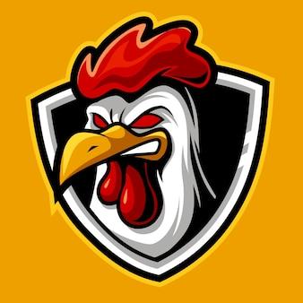Chiken arrabbiato, mascotte esports logo illustrazione vettoriale