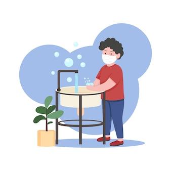 Illustrazione piana di concetto delle mani di cenere del bambino igiene personale disinfezione dal virus ragazzo nel personaggio dei cartoni animati di mascherina medica