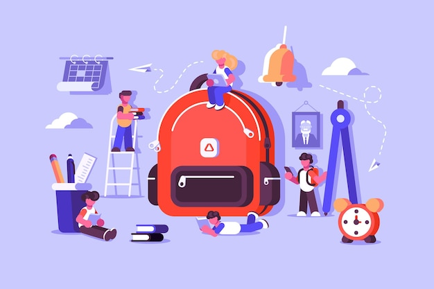 Borsa per bambini con cose essenziali per lo studio. zaino scuola per bambini con attrezzatura didattica