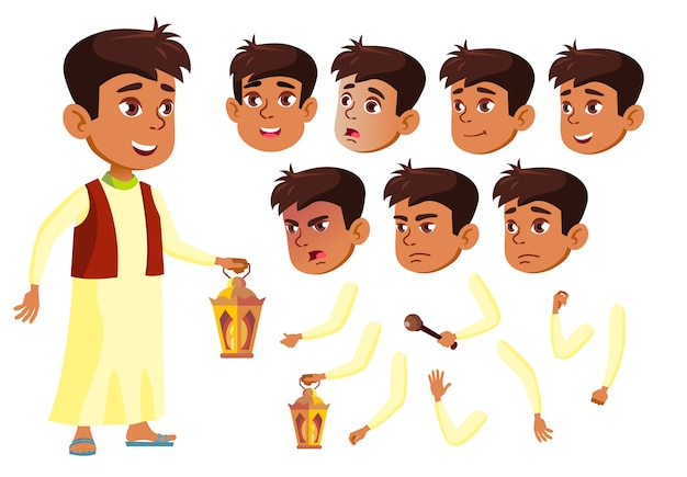 Carattere di bambino ragazzo. arabo. costruttore di creazione per l'animazione. affronta le emozioni, le mani.