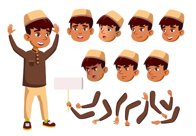 Carattere di bambino ragazzo. arabo. costruttore di creazione per l'animazione. affronta le emozioni, le mani. Vettore Premium