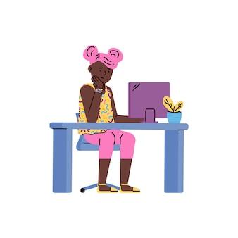 Personaggio dei cartoni animati del bambino che studia a distanza piatto isolato