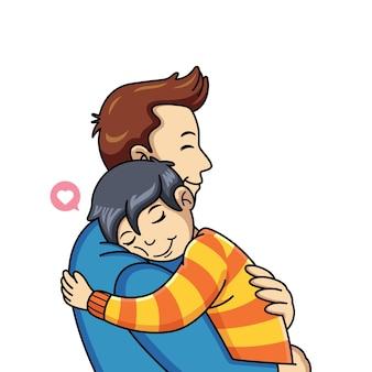 Il fumetto del bambino abbraccia suo padre con amore