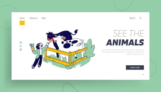 Il personaggio del bambino trascorre del tempo nel modello di pagina di destinazione del parco degli animali domestici