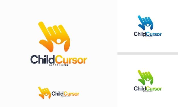 Il logo del cursore del bambino progetta il vettore di concetto, il simbolo del modello del logo dei bambini online