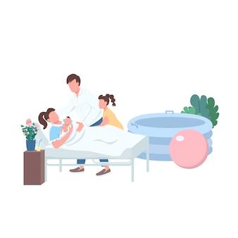 Caratteri senza volto di colore piatto consegna bambino. metodo lamaze per il travaglio. famiglia con neonato. parto alternativo a casa isolato fumetto illustrazione per web design grafico e animazione
