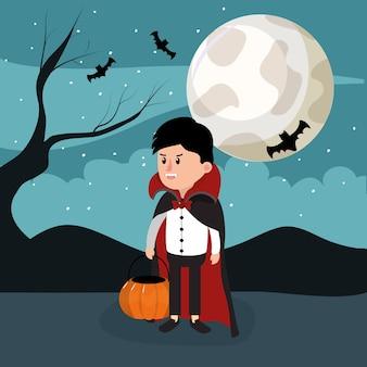 Bambino in costume di dracula