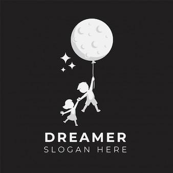 Modello dell'illustrazione di progettazione di logo di sogno del bambino