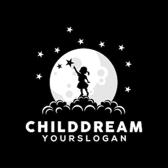 Vettore dell'illustrazione di progettazione di logo di sogno del bambino