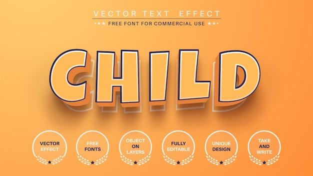Stile del carattere dell'effetto di testo modifica bambino