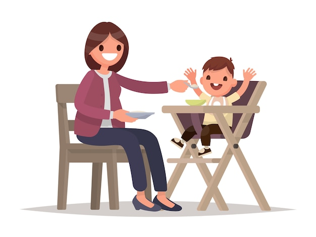 Alimentazione dei bambini. la madre nutre il bambino seduto nel seggiolone. illustrazione