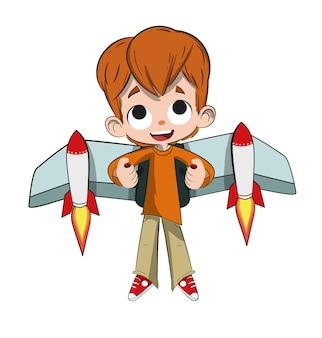 Bambino che vola con un razzo sulla schiena