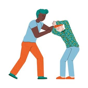 Bambino che colpisce un altro bambino. illustrazione sul bullismo