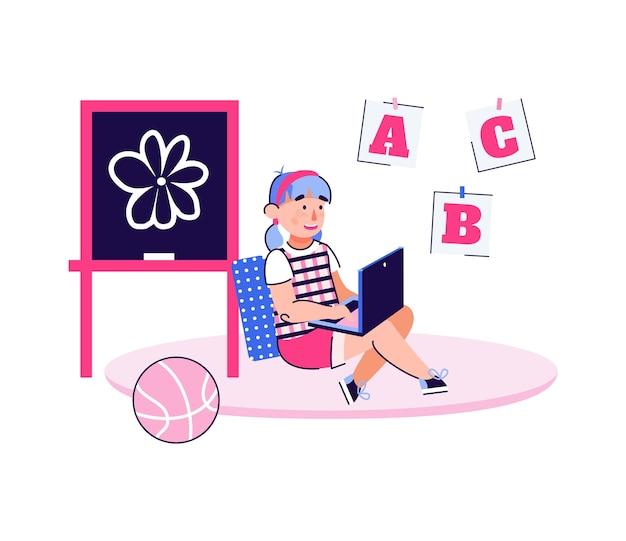 Bambino che impara abc sul computer portatile - formazione in linea per il concetto di bambini