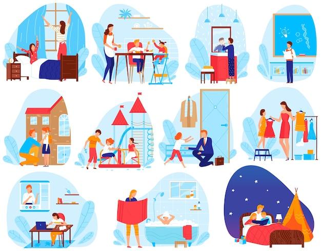 Insieme dell'illustrazione di vettore di routine quotidiana di stile di vita del bambino, scene di vita quotidiane piane del fumetto con i bambini ed i genitori della scuola