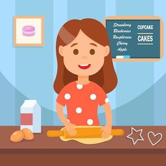 Bambino che produce l'illustrazione di vettore dei biscotti casalinghi