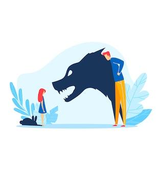 Relazione genitore bambino, padre arrabbiato abuso ombra ragazzino, illustrazione. problema familiare, combatti lo stress tra la ragazza triste