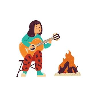 Bambino che suona la chitarra vicino al falò all'illustrazione piana di vettore del campeggio isolata