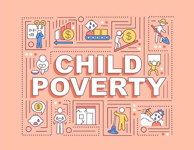 Bandiera di concetti di parola di povertà infantile