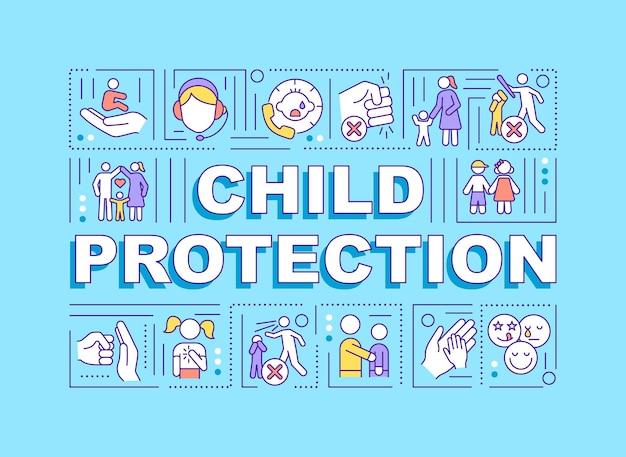 Bandiera di concetti di parola di protezione del bambino