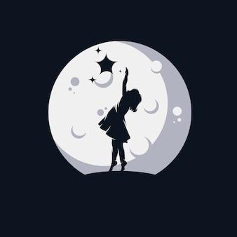Un bambino che raggiunge il logo delle stelle