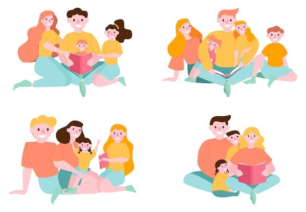 Libro di lettura del bambino con i genitori. bambini e genitori felici trascorrono del tempo insieme. attività familiare. persone che leggono set di libri. collezione di uomini e donne che leggono a casa. illustrazione