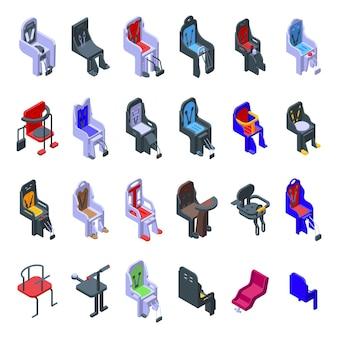 Set di icone di bici seggiolino per bambini. insieme isometrico delle icone della bici del seggiolino per bambini per il web