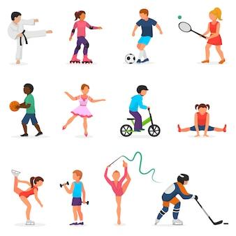 Bambino in sport carattere ragazzo o ragazza di vettore giocando hockey o calcio e ballare i bambini