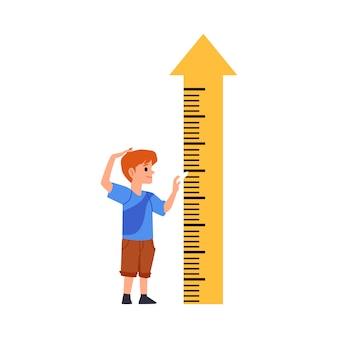 Bambino che sta vicino alla freccia di misurazione di altezza, illustrazione piana isolata.