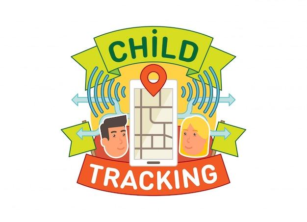 Illustrazione di distintivo di vettore di concetto di rilevamento del bambino con app mobile di posizione.