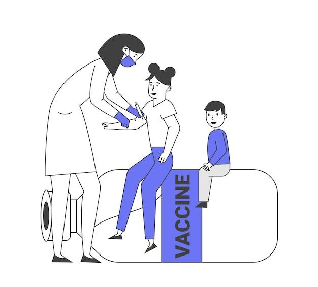 Vaccinazione dei bambini, procedura di immunizzazione.