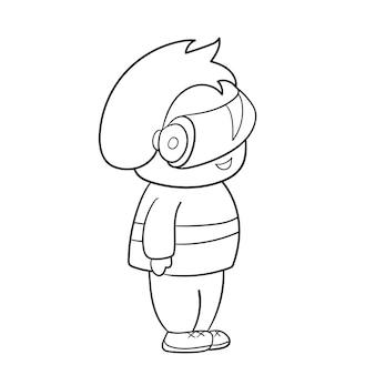 Bambino in occhiali vr. tecnologie moderne per il gioco. disegno della pagina del libro da colorare per bambini